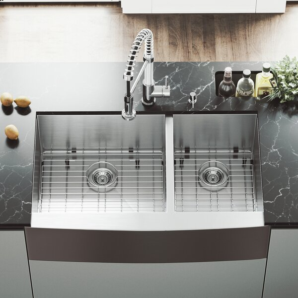 Chisholm 36 L x 22 W Double Basin Farmhouse Kitchen Sink with Sink Grid by VIGO