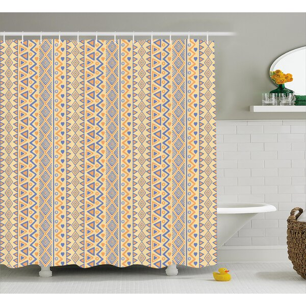 Cyrano Stripes Native American Shower Curtain by Bungalow Rose