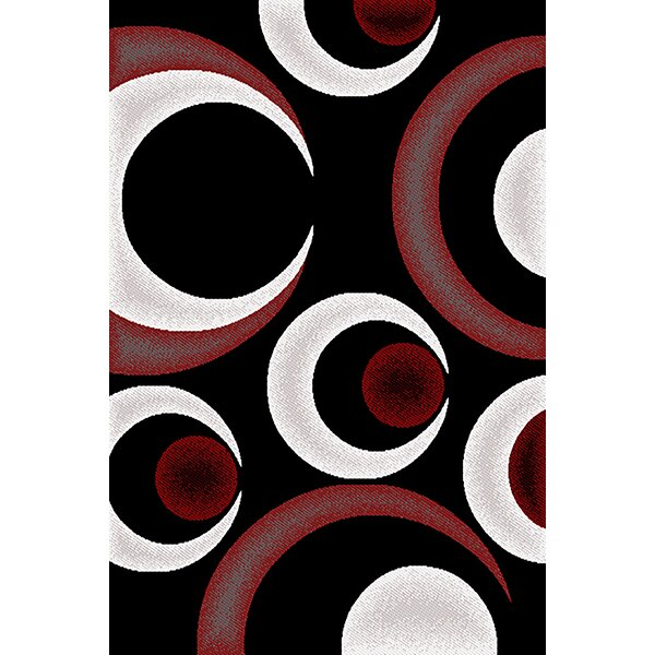 Coulter Red/Black Area Rug by Ebern Designs