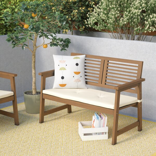 Arianna Meranti Garden Bench with Cushion by Langley Street