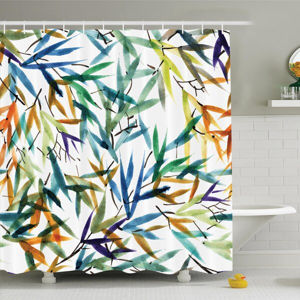 Traditional House Decorative Colorful Bamboo Leaves Hand Drawn Spiritual Plants Picture Shower Curtain Set by Ambesonne