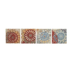 Embroidery 4 Piece Graphic Art Set on Canvas by Cole & Grey