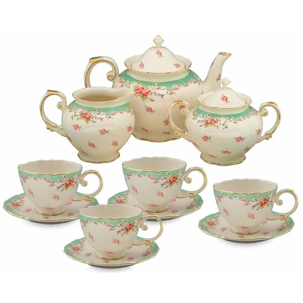 Hemby 11 Piece Vintage Green Rose Porcelain Tea Set by Lark Manor