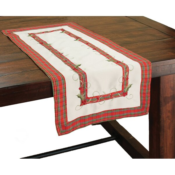 Tartan Ribbon Embroidered Holiday Table Runner by Xia Home Fashions