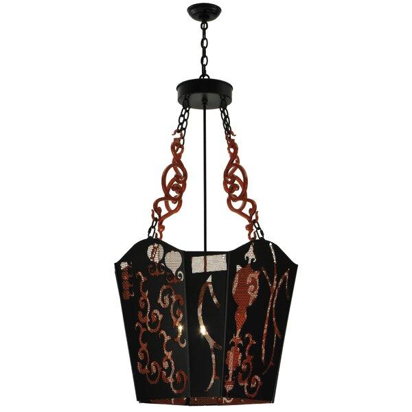 4 - Light Lantern Geometric Chandelier by Meyda Tiffany Meyda Tiffany