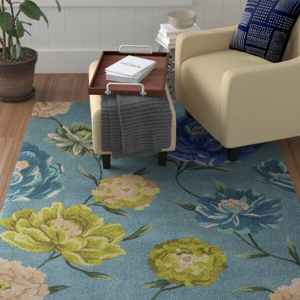 Las Cazuela Blue Floral Area Rug by Red Barrel Studio
