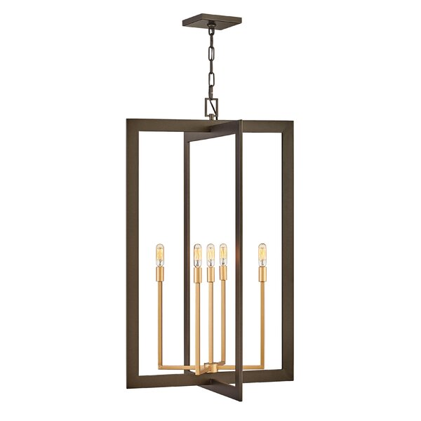 Arbrianna 5 - Light Candle Style Square / Rectangle Chandelier by Latitude Run Latitude Run