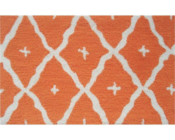 Kathleen Hand-Hooked Orange Area Rug by Threadbind