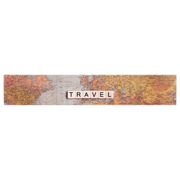 Sylvia Cook Travel Map World Table Runner by East Urban Home