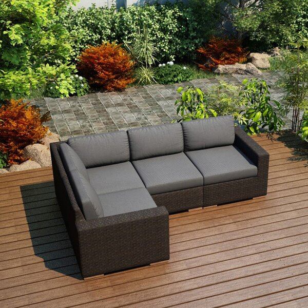 Hodge Patio Sectional with Cushions by Rosecliff Heights