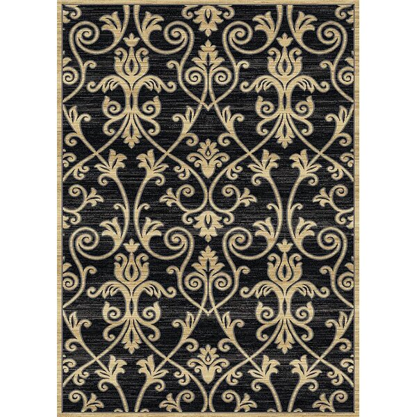 Audric Floral Black/Beige Area Rug by Darby Home Co