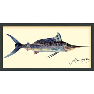 'Blue Marlin' by Alex Zeng Framed Graphic Art Print by Longshore Tides