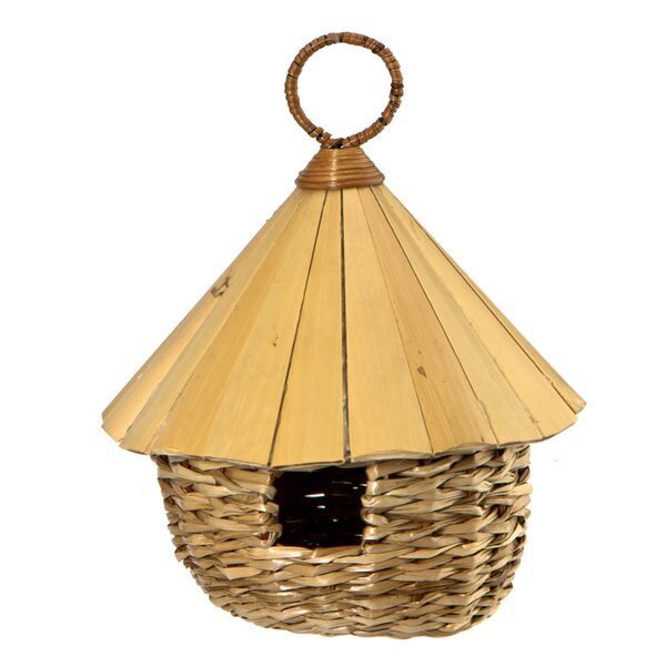 Round Roosting Pocket with Bamboo Roof 11.5in x 5in x 5in Birdhouse by Woodlink