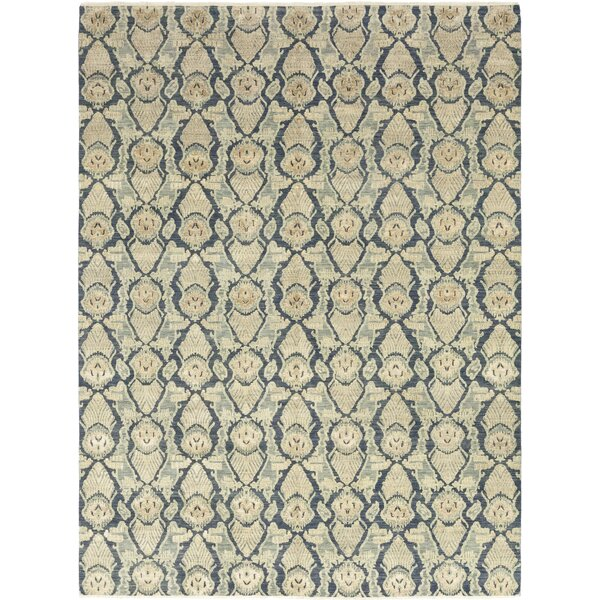 One-of-a-Kind Deven Hand-Knotted Wool Blue/Beige Indoor Area Rug by Isabelline