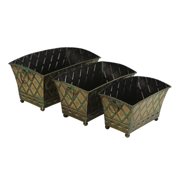 Berwick 3 Piece Rectangular Metal Pot Planter Set by Astoria Grand