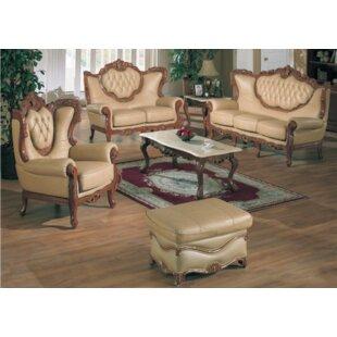 Adora Leather 3 Piece Living Room Set by Astoria Grand