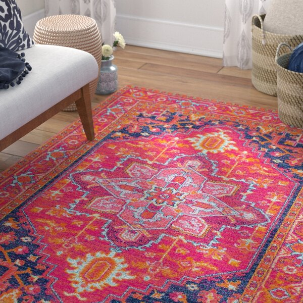 Christophe Blooming Pink/Orange Area Rug by Mistana