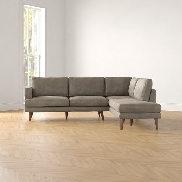 Ainsley Right Hand Facing Leather Sectional By Foundstone