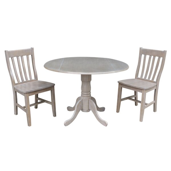 Harrel Dual Drop Leaf 3 Piece Solid Wood Dining Set by August Grove
