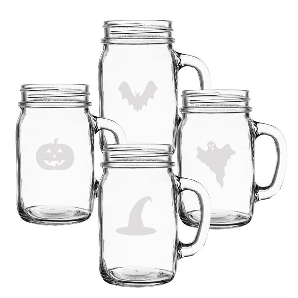 4 Piece Trick or Treat 16 oz. Mason Jar by Cathys Concepts