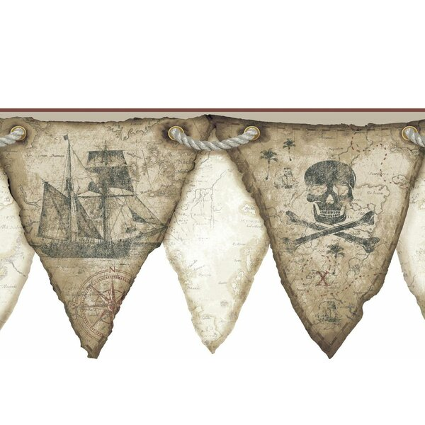 Cool Kids Pirates Pennant Wall Border by York Wallcoverings