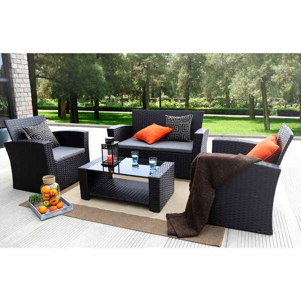 Reordan 4 Pieces Sofa Set with Cushions by Bay Isl