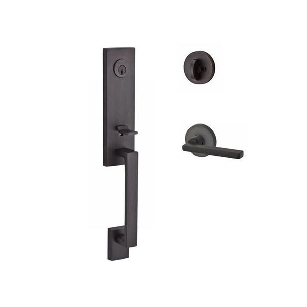 Seattle Single Cylinder Handleset with Square Door Lever and Contemporary Round Rose by Baldwin