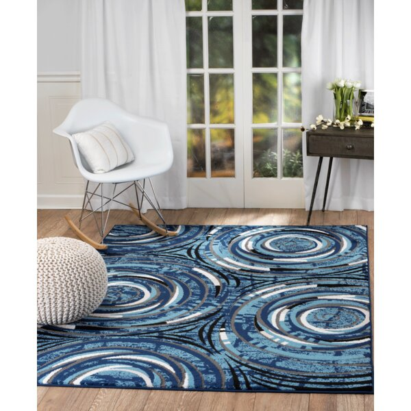 Stewartville Wool Blue/White Area Rug by Ebern Designs
