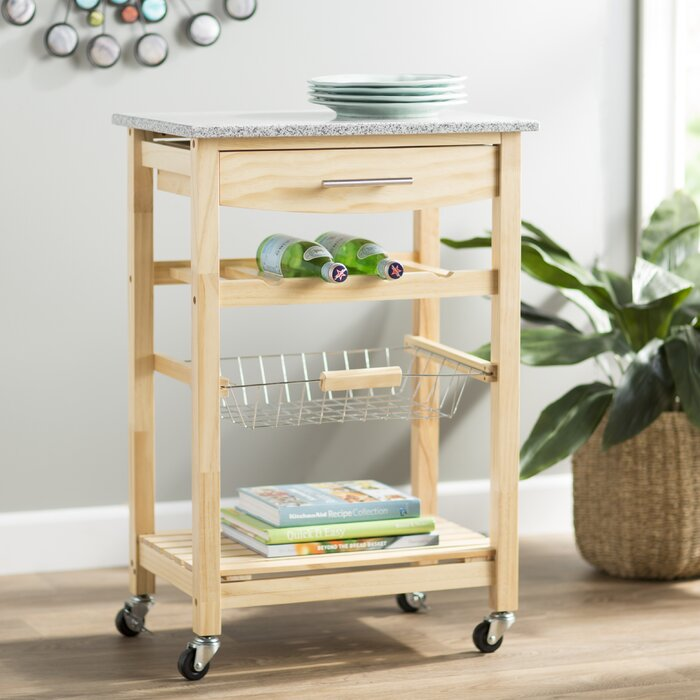 Macy Kitchen Cart with Granite Top