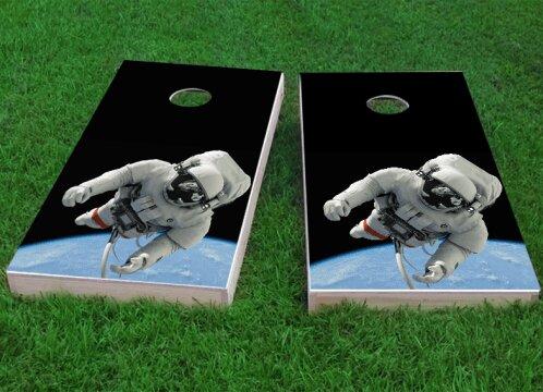 Astronaut Floating Above Earth Cornhole Game (Set of 2) by Custom Cornhole Boards