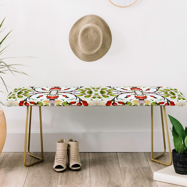 Ginette Fine Art Rose Hips and Bees Upholstered Bench by East Urban Home