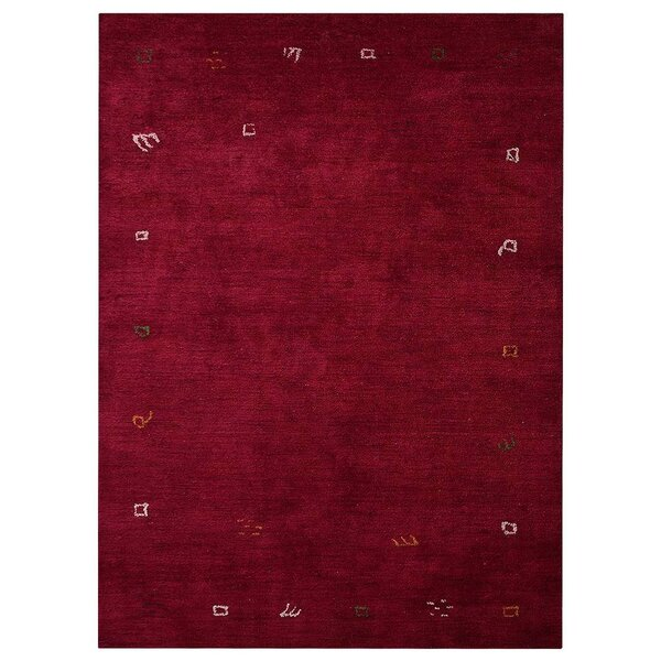 Auerbach Hand-Knotted Silk Dark Red Area Rug by Bloomsbury Market