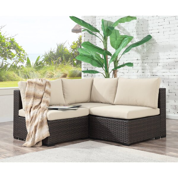 Alycia 3 Piece Rattan Sectional Seating Group with Cushions by Ebern Designs