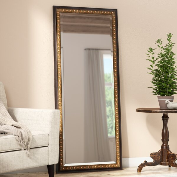 Dark Brown Wood Beveled Wall Mirror by Darby Home Co