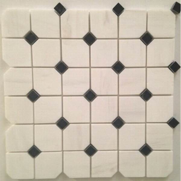 Hex Polished 2 x 2 Mosaic Tile in Bianco Dolomite by Ephesus Stones