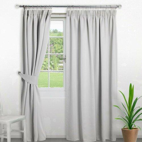 Pencil Pleat Blackout Thermal Curtain Symple Stuff Colour: Silver, Panel Size: Width 168cm x Drop 229cm