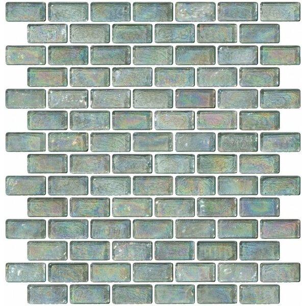 Iridescent 0.75 x 1.5 Glass Subway Tile in Green by Susan Jablon