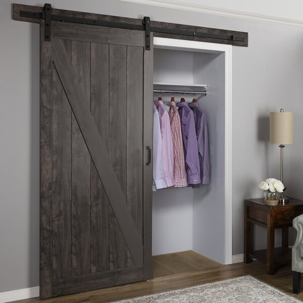 Cheval Ironage Solid MDF Panelled Slab Interior Barn Door by Erias Home Designs