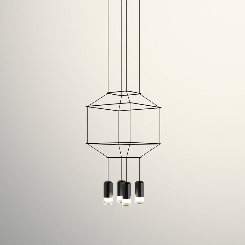 Vibia Wireflow 3D Square 4-Light Geometric Pendant & Reviews | Wayfair