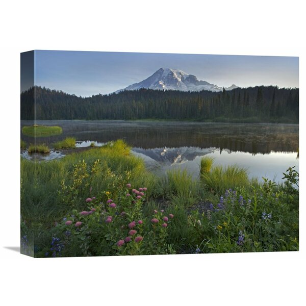Nature Photographs Mount Rainier and Reflection Lake, Mount Rainier National Park, Washington Photographic Print on Wrapped Canvas by Global Gallery