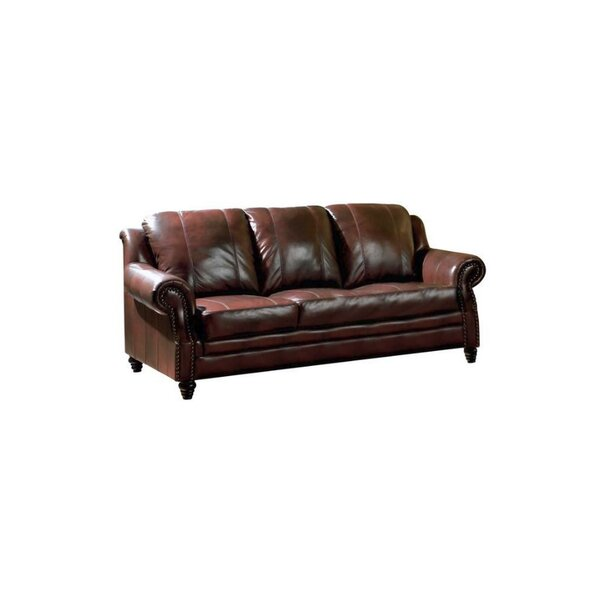 Hensley Leather Sofa by Loon Peak