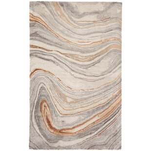 Fairmont Abstract Hand-Tufted Copper/Gray Area Rug by Ivy Bronx