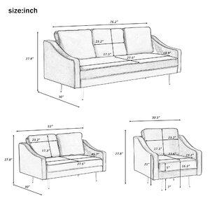 3 Piece Velvet Configurable Living Room Set by Bailongdoo