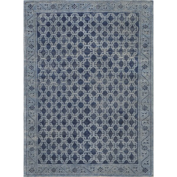 One-of-a-Kind Khotan Fine Hand-Knotted Wool Blue Indoor Area Rug by Mansour