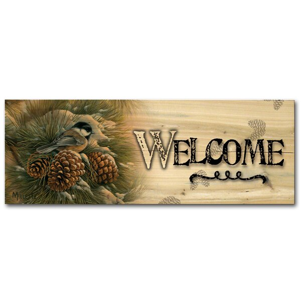 Welcome December Dawn Chickadee Graphic Art Plaque by WGI-GALLERY