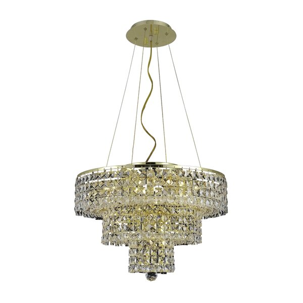 Bratton 9 - Light Unique / Statement Tiered Chandelier With Crystal Accents By Rosdorf Park