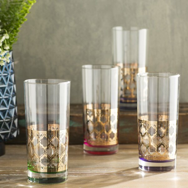 Helena Gold 22K Assorted 4 Colors 15 oz Cooler Glass (Set of 4) by Bungalow Rose