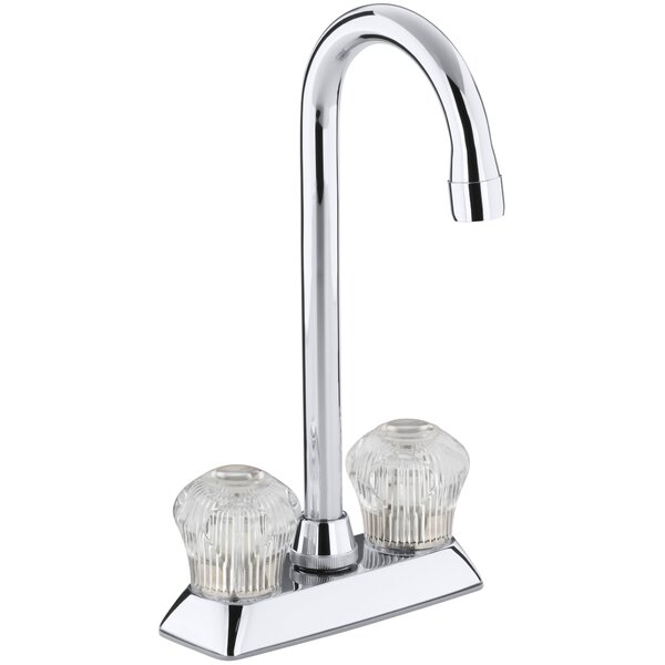 Coralais Two-Hole Centerset Bar Sink Faucet with Sculptured Acrylic Handles by Kohler