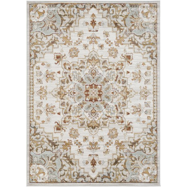 Lenora Classic Floral and Plants Light Gray Area Rug by Charlton Home
