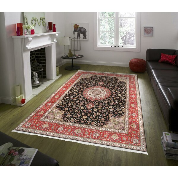 One-of-a-Kind Tabriz Hand-Knotted Black 9'10 x 13'6 Area Rug
